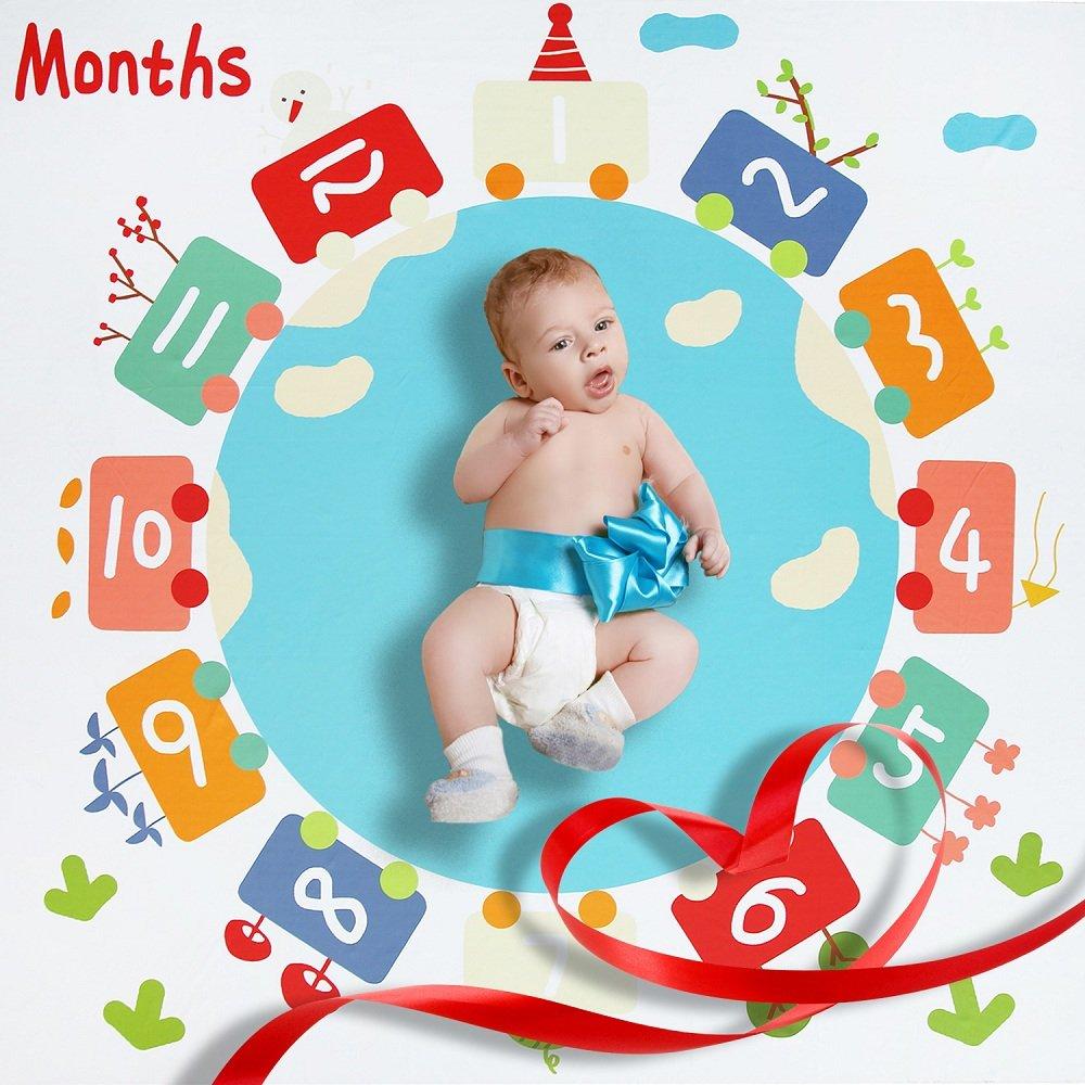 Manta mensual de manta Milestone Blanket con manta para bebés 120cm x 120cm Maxitid