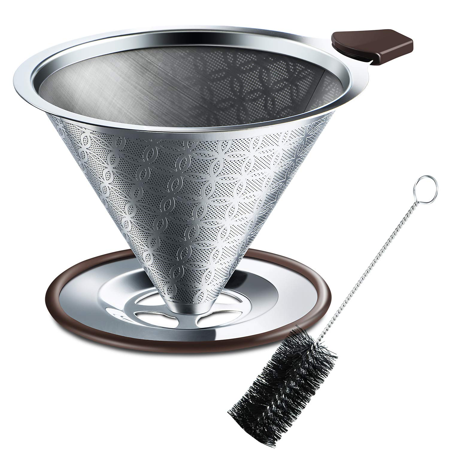 SRIWATANA Stainless Steel Coffee Dripper, Pour Over Coffee Filter with Non-Slip Silicone Handle and Bonus Brush, Floral Design
