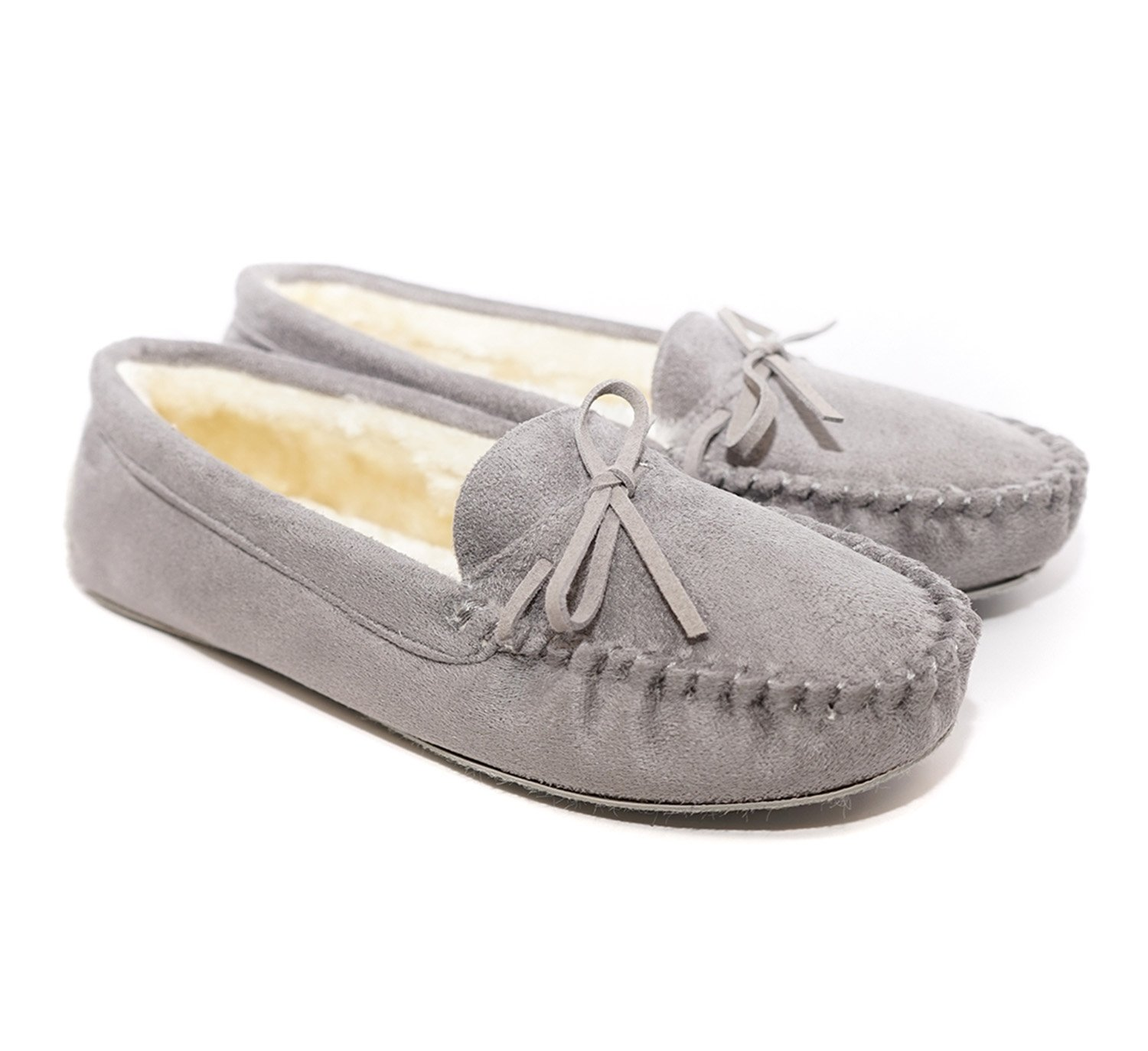 Charles Albert Women's Auzy Fuax Fur Winter Moccasins Slippers (Grey, 7)
