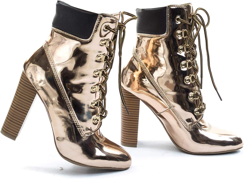 Wild Diva Metallic Block Heel Combat