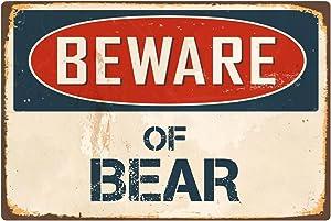 "StickerPirate Beware of Bear 1 8"" x 12"" Vintage Aluminum Retro Metal Sign VS042"