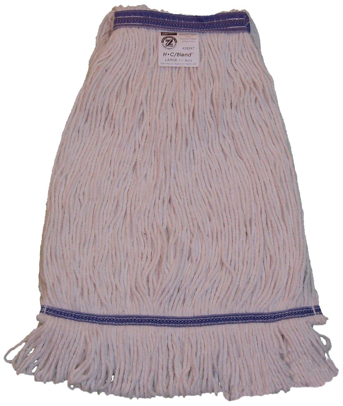 Zephyr 28248 HC/Blend Natural 4-Ply Yarn X-large Health Care Loop Mop Head with 1-1/4'' Narrow Headband (Pack of 12)