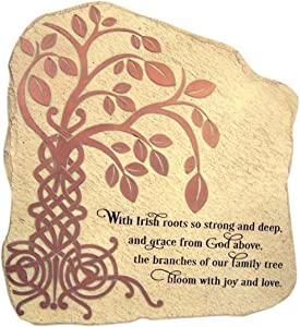 The Irish Tree of Life Garden Stone Resin Plaque with Prayer, Outdoor Decoration Stone 10 Inch