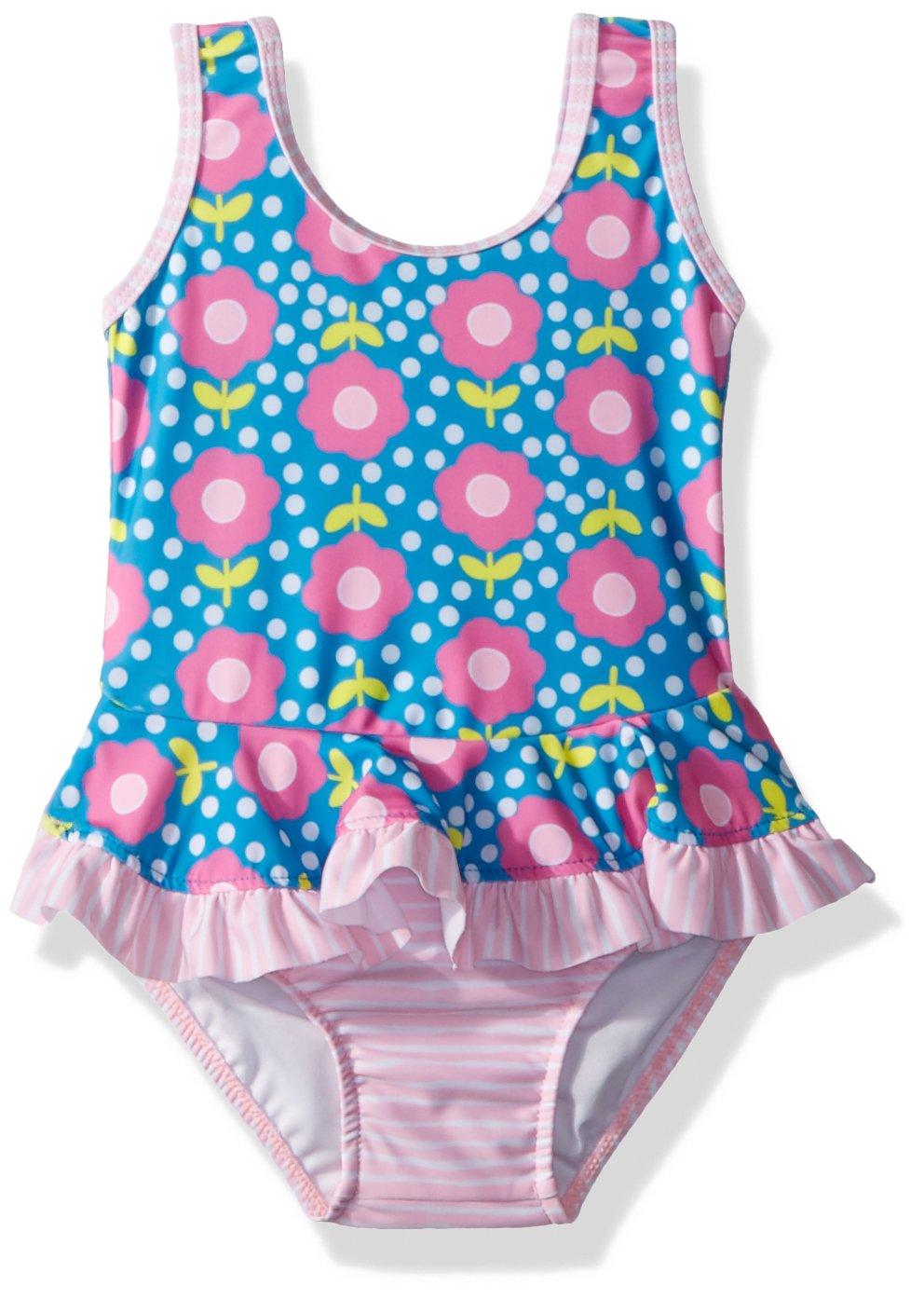 Flap Happy Girls' Baby UPF 50+ Stella Infant Ruffle Swim Suit, Floral pop, 18m by Flap Happy