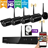 [Audio & Video] xmartO 4CH 1080p Full HD Wireless IP Network Security Camera System with 4x 1080p HD Wireless Outdoor Cameras and 1TB Hard Drive, Dream Liner WiFi Relay, NVR built-in Router, Auto-Pair