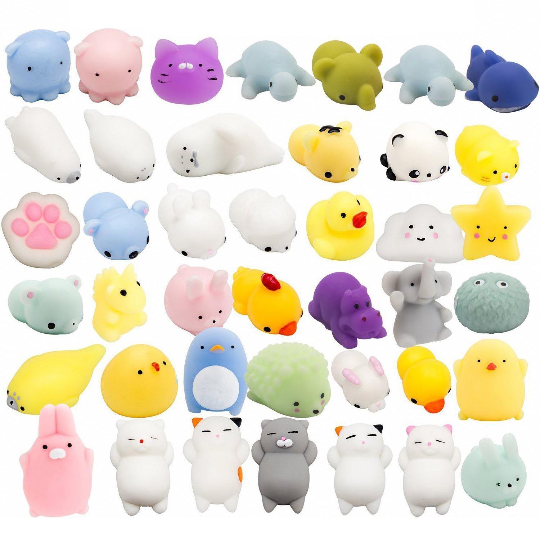 WATINC Random 40 Pcs Cute Animal Mochi Squishy, Kawaii Mini Soft Squeeze Toy,Fidget Hand Toy for Kids Gift,Stress Relief,Decoration, 40 Pack