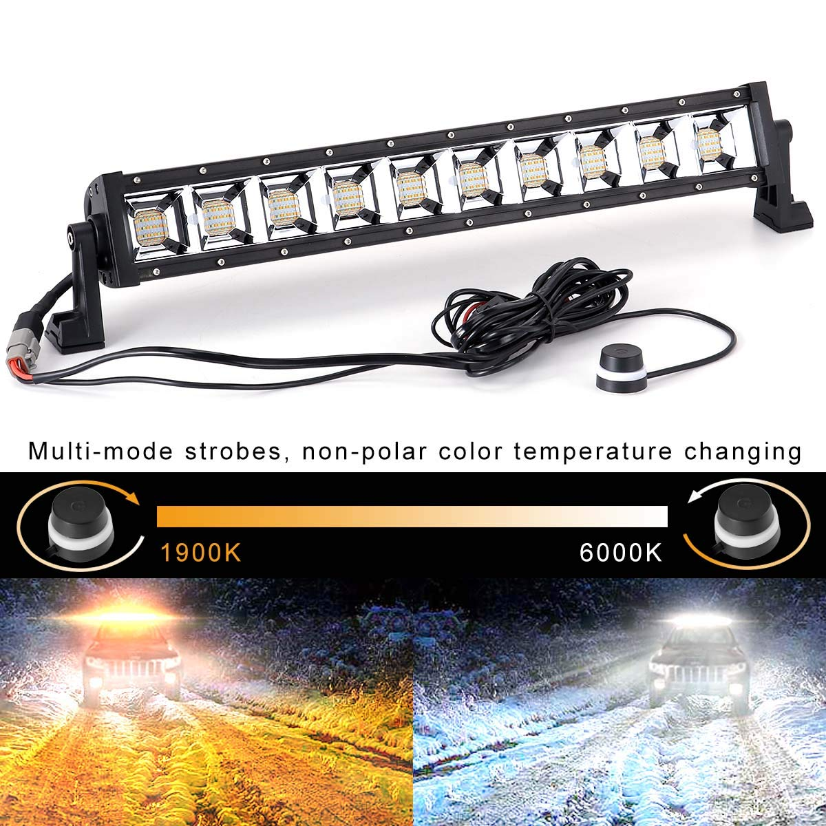 KAWELL 21.5 Inch 120W LED Light Bar Waterproof Driving Lights Off Road Lights for SUV UTE Truck ATV UTV, IP67, Color-Changing and Multiple Modes Strobes 1800K-6500K 55KAFM01-AT551