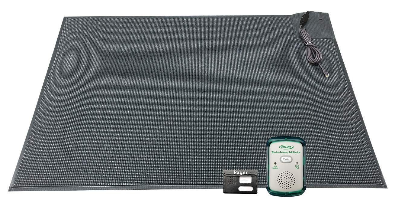 Wireless Economy Quiet Fall Alert with 24in x 36in Floor Mat and Caregiver Pager - Know When They get up! by Smart Caregiver