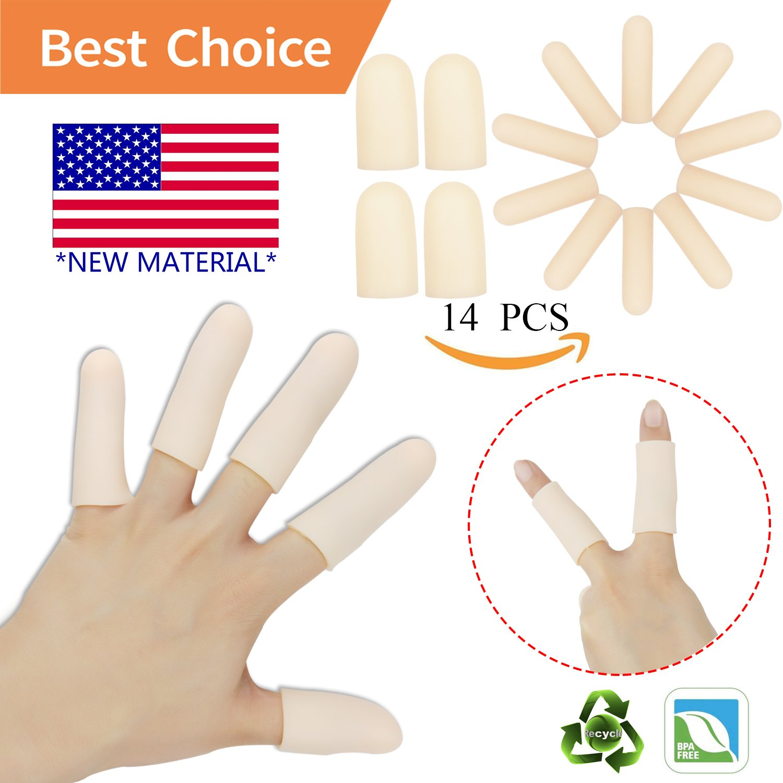 Gel Finger Cots, Finger Protector Support(14 PCS)NEW MATERIAL Finger Sleeves Great for Trigger Finger, Hand Eczema , Finger Cracking, Finger Arthritis and More.(Nude)