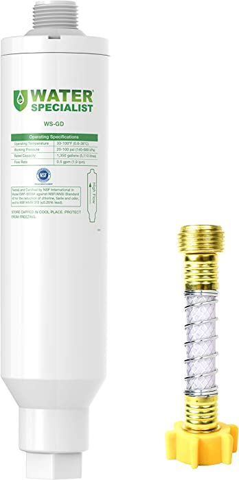 Waterspecialist Garden Hose Water Filter with Hose Protector, NSF Certified, Compatible with Mist Cooling System, Reduces Chlorine, bad taste and odor for Gardening and Pets
