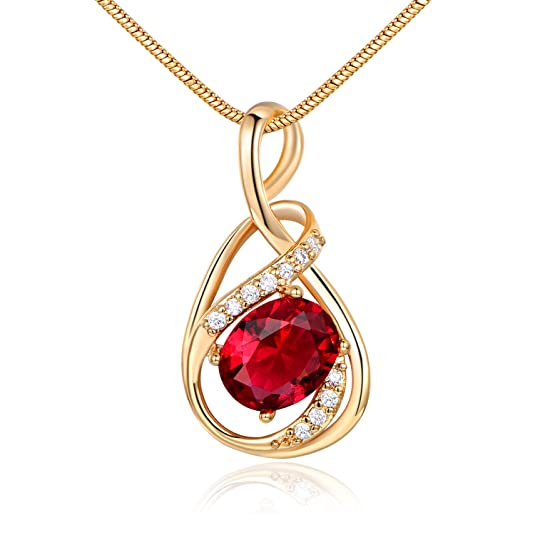 GULICX White Gold Tone/Gold Tone Artistic Ruby Color Red CZ Chic Pendant Necklace