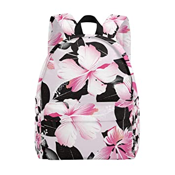Amazoncom Humphy Albe Backpack Pink Tropical Hibiscus Flowers