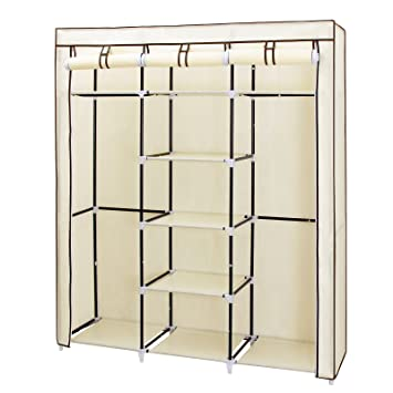 SONGMICS Portable Clothes Closet Non Woven Fabric Wardrobe Double Rod  Storage Organizer Beige 59