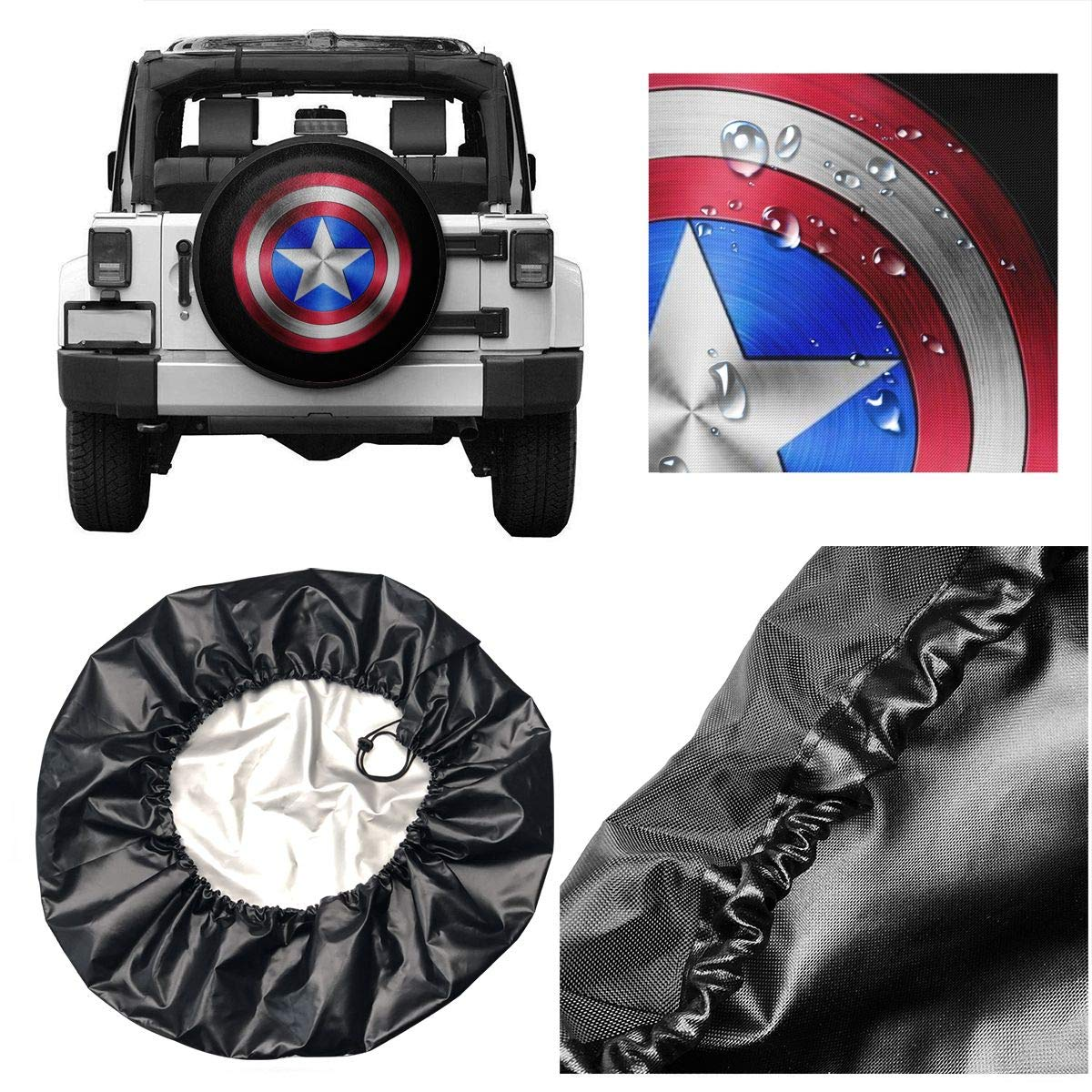 Car DEETU Spare Tire Cover RV Universal Fit for Jeep Trailer Truck Wheel 14 15 16 17 Inches