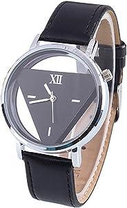 LSVTR Unisex Charm Glass Hollow Triangle Dial Faux Leather Analog Quartz Wrist Watch