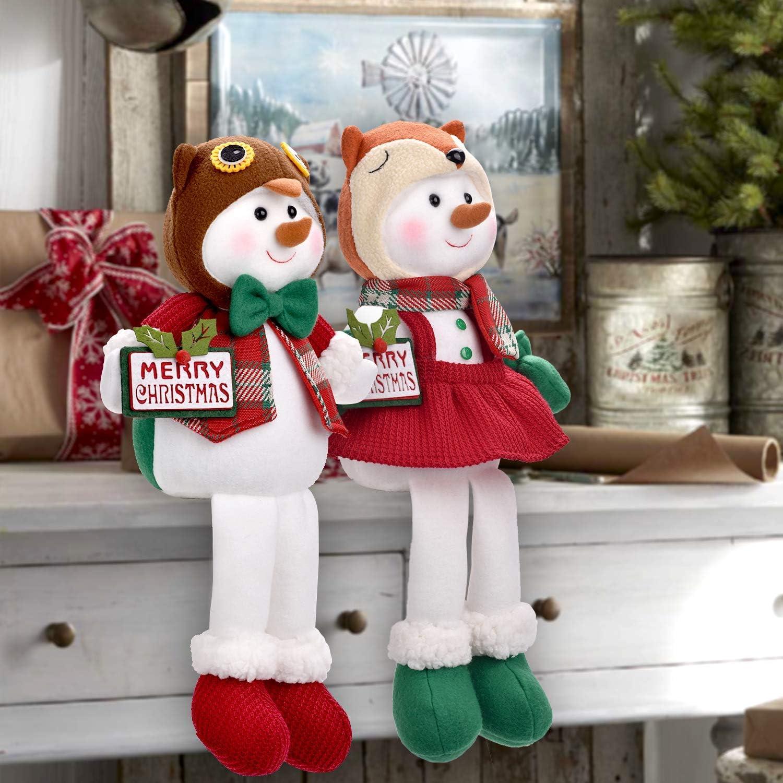 Christmas Snowman Doll Boy and Girl Christmas Decorations for Home Decor
