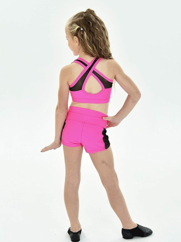 Little Girls Raspberry Black Mesh Cross Back Straps TRINITY Bra Top 4-6