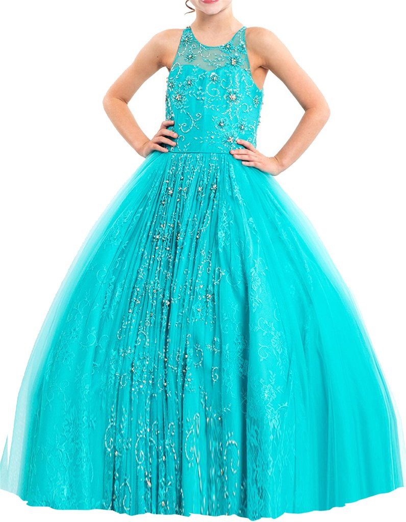Yang Princess Girl's Beaded Wedding Party Gowns Tulle Pageant Dresses 14 US Turquoise