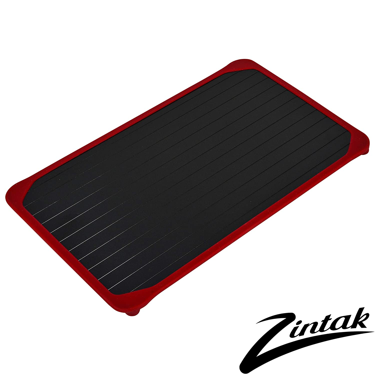 Zintak Defrosting Tray Large | Rustic Red Silicone Border | Natural Eco Friendly Heating | No Electricity | No Chemicals | Thaw Faster | Large Size for Meat, Chicken, Vegetables
