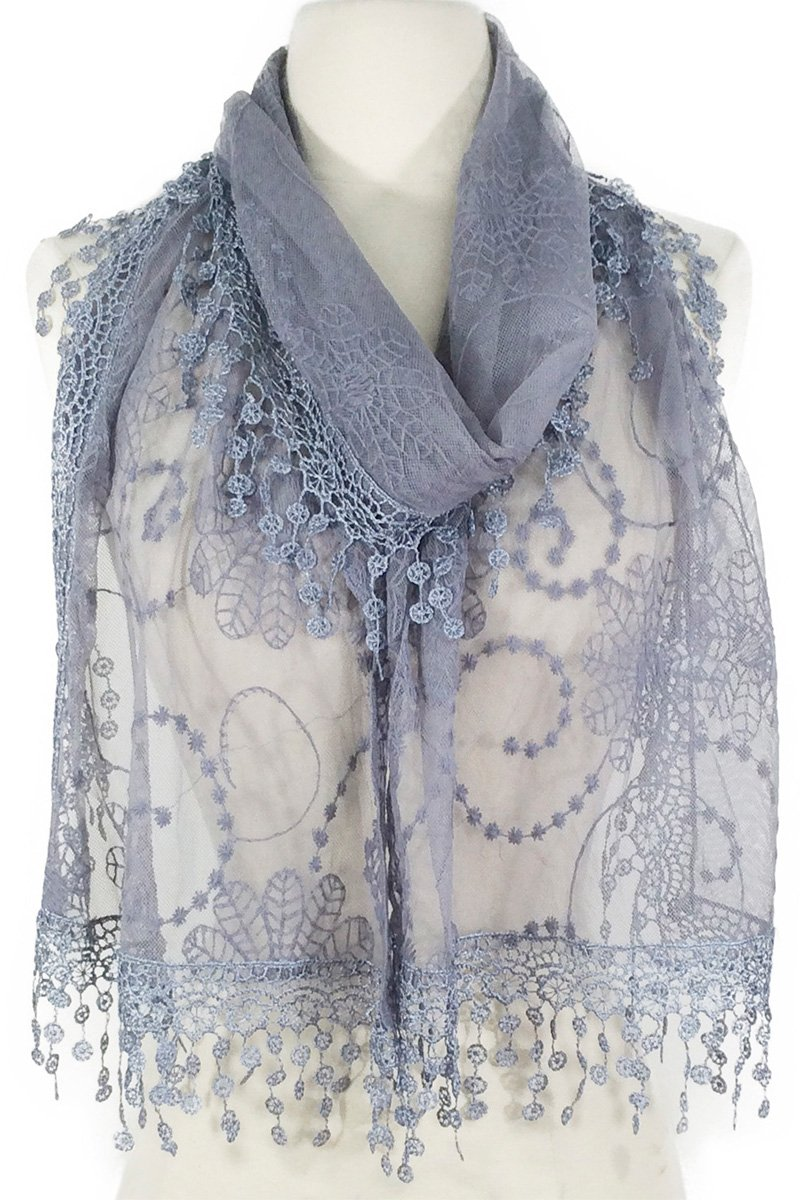 Women's lightweight Feminine lace teardrop fringe Lace Scarf Vintage Scarf Mesh Crochet Tassel Cotton Scarf for Women One Size Black