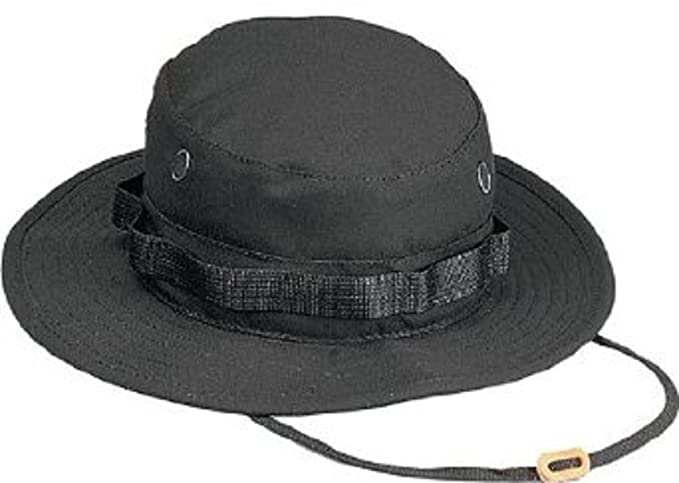 6220082a79f Image Unavailable. Image not available for. Color  Black Military Boonie Hat  (Polyester Cotton) 5803 Size 7.75