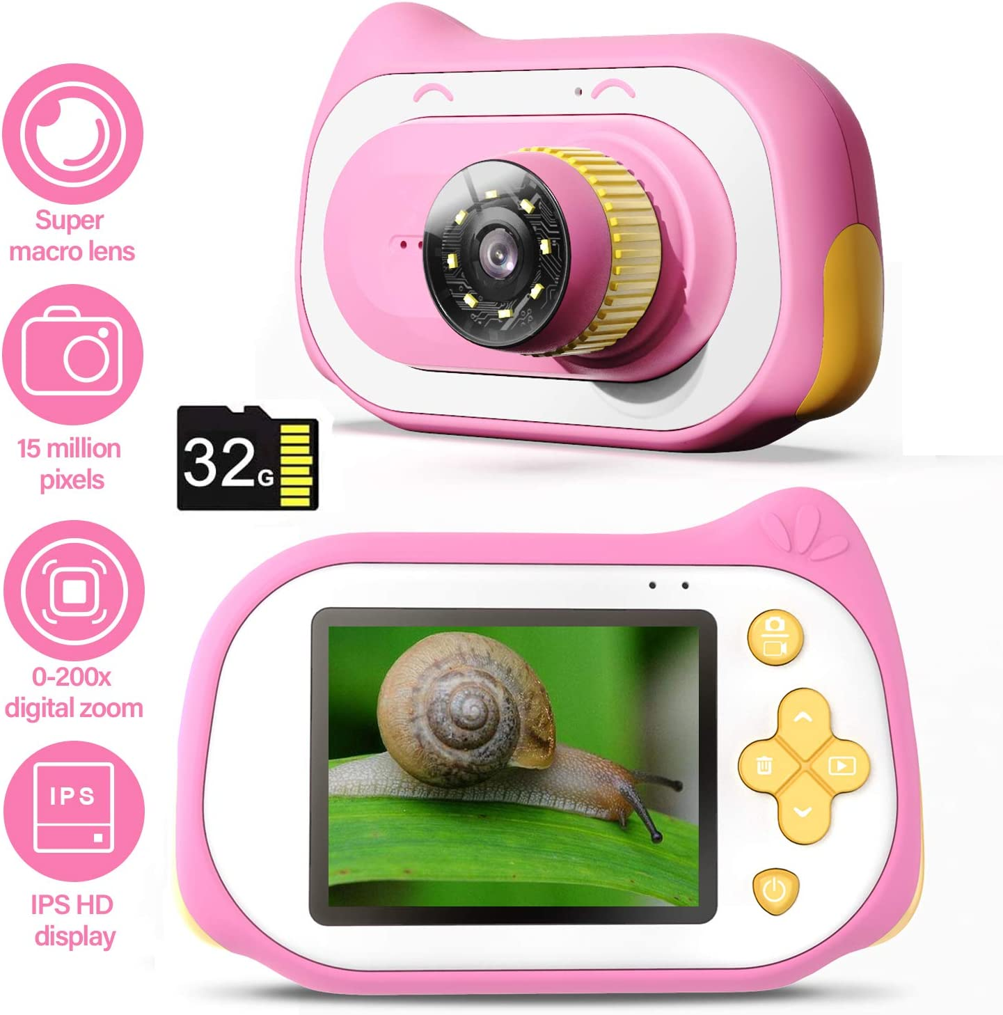Kids Camera with Microscope Function, 200X Magnifier Digital Microscope 15MP 4K Compact Kids Starter Camera Mini Video Player Recorder with Free 32GB TF Card Toy & Gift for 3-10 Years Old Boys Girls