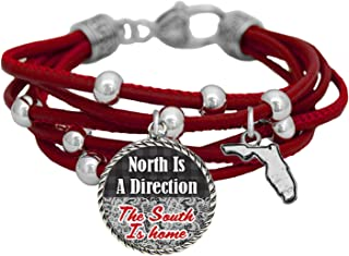 product image for Florida North is a Direction South is Home Red Leather Bracelet Southern Jewelry