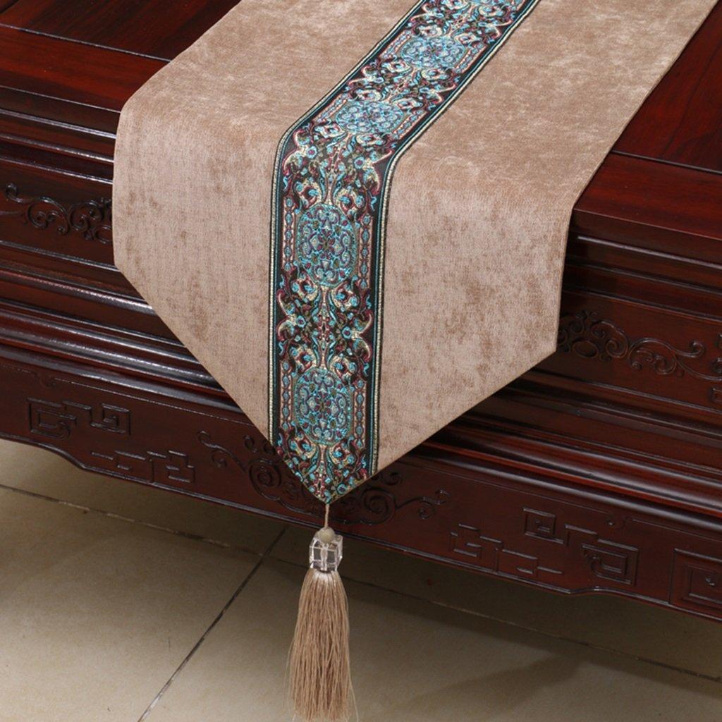 Caminos de mesa LZ-Snail Decoración Tabla de Tela Mesa Runner Bed Runner Bed End Towel Modern Simple American Tea Table Cloth (Color : Caqui, Tamaño : 33cm300cm)