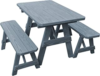 product image for Pressure Treated Pine 4 Foot Picnic Table with Detached Benches- Gray Stain