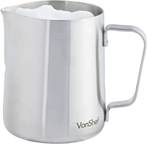 VonShef Stainless Steel Milk Pitcher Suitable for Coffee, Latte & Frothing Milk, Available in 12-Oz, 20-Oz and 32-Oz sizes