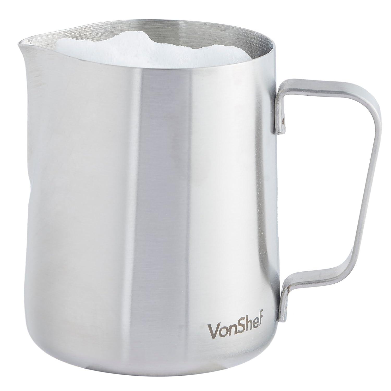 vonshef milk jug stainless steel ml for coffee latte  - vonshef milk jug stainless steel ml for coffee latte  frothing milkavailable in ml ml  ml amazoncouk kitchen  home