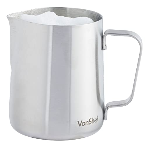 VonShef Milk Jug Stainless Steel 330ml Suitable for Coffee, Latte & Frothing Milk Available in 330ml, 600ml & 945ml