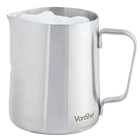 VonShef Jarra de Leche de Acero Inoxidable Grado 202, Apta para Café, Latte y Espumar Leche 945ml, 2 Años de Garantía Gratuita