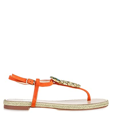 best website 25b53 b33f2 bibi lou Damen Sandalen Mit Strass Orange Gold, Größe 36 ...