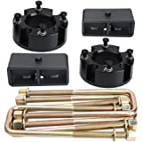 """KSP 3"""" Front and 2"""" Rear Leveling lift kit fit for Tundra 2WD 2X2 4WD 4X4 2007-2019, 6061 T6 Aircraft Billet Strut Spacers Lift Blocks Extended U-Bolts"""
