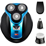 Electric Shaver Razor for Men Perzcare IPX7 Waterproof 4 in 1 Beard Trimmer Wet & Dry Wireless Rotary Shaver Cordless Hair Trimmer Nose Hair Trimmer Facial Cleaning Brush USB Rechargeable