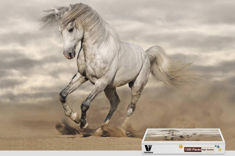【ポイント10倍】 pigbangbang Painting、34.4 X X 22.6インチ、ハンドメイドintellectivゲームプレミアム木製DIY接着のJigsaw Nice Painting – Amazing – BeautyホワイトHorse – 1500ピースジグソーパズル B07FRX1SDN, サガシ:e35ef9c7 --- 4x4.lt