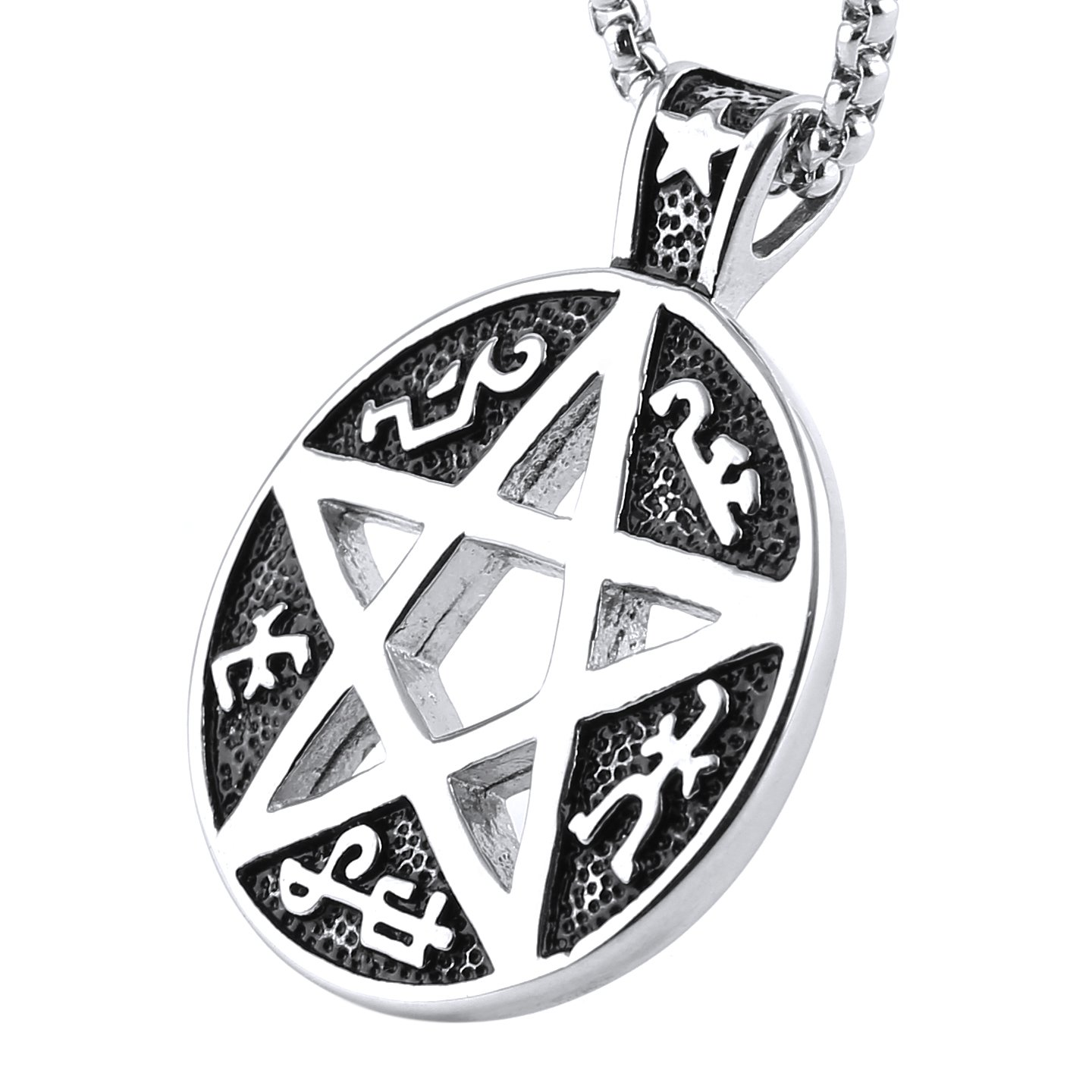 HZMAN Supernatural Devils Trap Symbol Sigil Stainless Steel Pendant  Necklace Pentagram Anti Possession