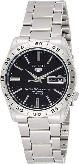 【逆輸入SEIKO5】セイコーファイブデイデイトカレンダー搭載・オートマチック・裏スケルトン自動巻 ブラックダイアル メタルベルト メンズ ウォッチ 腕時計 SNKE01K1