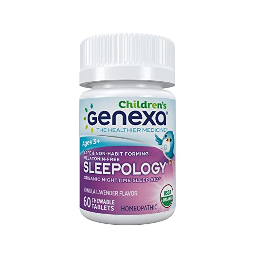 Genexa Auxiliar para dormir orgánica sin melatonina, formulado por un médico, seguro, natural, sin OGM para niños 60 tabletas masticables: Amazon.es: Salud ...