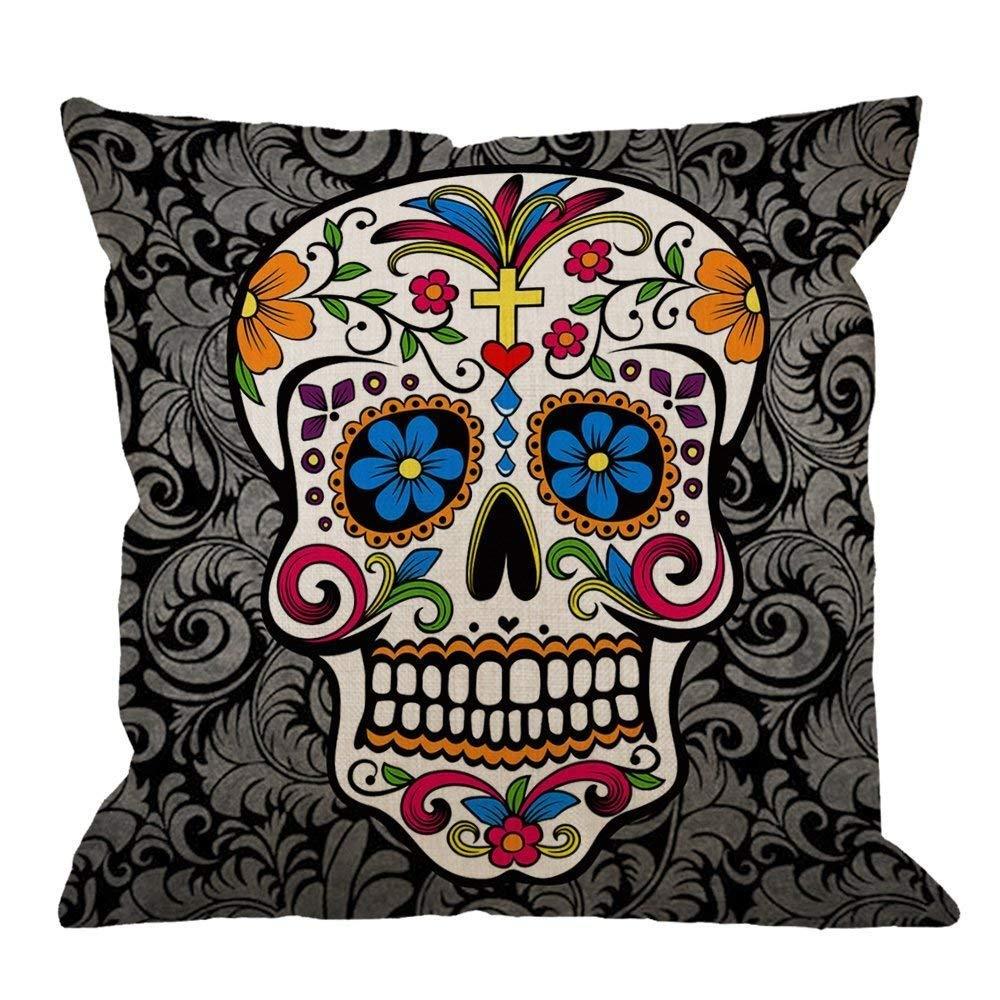 Skull Pillow Case Decor by Colorful Sugar Skull Cotton Linen Square Cushion Cover Standard Pillowcase for Men Women Kids Home Decorative Sofa Armchair Bedroom Livingroom 18 x 18 inch lsrIYzy