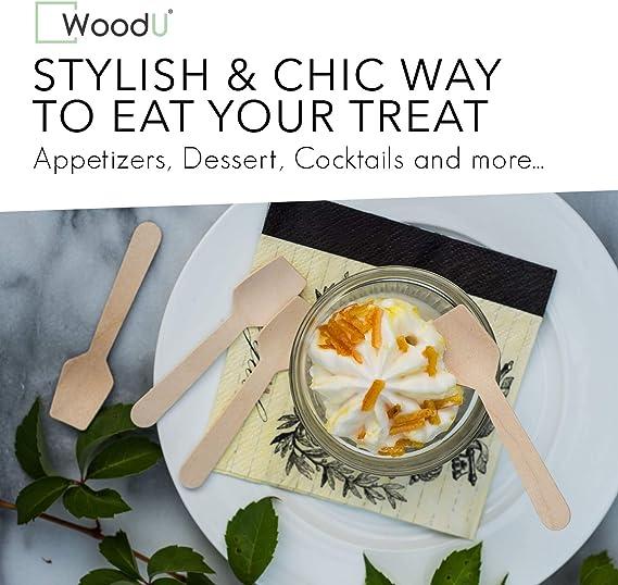 SODIAL 100 Pz Monouso Cucchiaio Di Legno Mini Gelato Cucchiaio Legno Occidentale Dessert Scoop Festa Nuziale Da Tavola Accessori Da Cucina