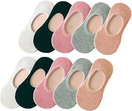 Yuson Girl Calcetines Cortos 10 Pares Calcetines Invisibles Mujer De Algodón Calcetines Cortos Elástco Con Silicona Antideslizante: Amazon.es: Ropa y accesorios