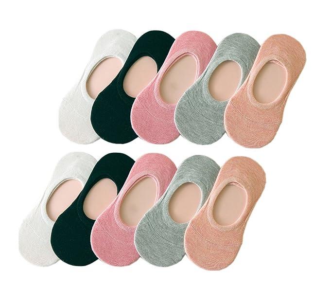Tuopuda® 10 Pares Calcetines Invisibles Mujer De Algodón Calcetines Cortos Elástco Con Silicona Antideslizante: Amazon.es: Ropa y accesorios