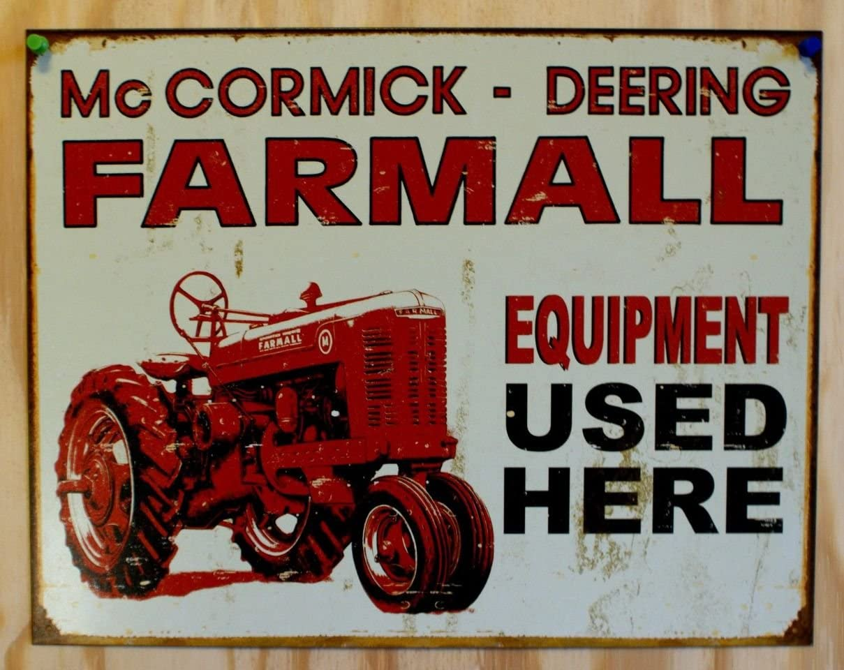 "TIN SIGN /""Farmall Tractor/""  Farm Rustic Wall Equipment Advertisement Decor"