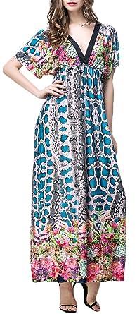 Mochoose Damen Elegant Kurzarm V-Ausschnitt Blumen Boho Maxi Böhmisches  Langes Strandkleid(Blau,