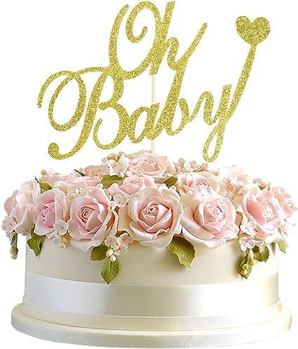 Gold Gender Reveal Cake Topper Baby Shower Cake Topper Boy Or Girl Cake Glitter