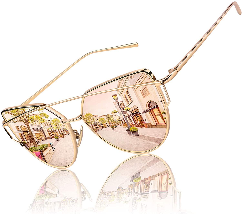 GQUEEN Women's Oversized Polarized Metal Frame Mirrored Cat Eye Sunglasses MT3