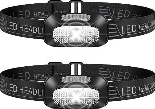 Linterna Frontal LED, 2 Piezas USB Rechargeable Linterna Cabeza, Ligero Impermeable Linternas Frontales para Camping, Pesca, Correr, Caza, Deportes ...