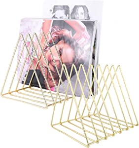 Urban Deco File Storage Holder-2 Packs Triangle Iron Magazine Organizer 7 Sections (Gold) For Office Home Decor-Wire Holders For Magazines, Files, Folders, Newspapers.